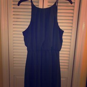 Pine green pleated halter dress